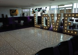 Kutis Royal Thai Pier Southampton LOVE letter hire and white LED Dancefloor Hire