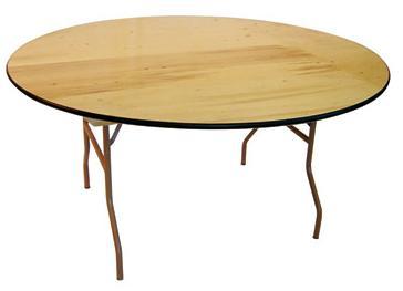 5.5 66 Diameter Blonde Plywood Table