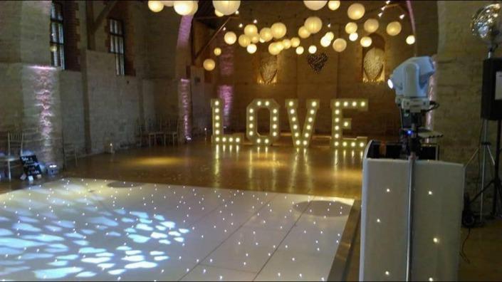 White LED Dancefloor 5ft Love Uplighters DJ Equipment Tithe Barn Petersfield