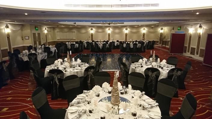 portsmouth marriott hotel black led dancefloor chaircovers grey sash
