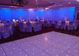 Portsmouth Marriott Hotel full room draping white led dancefloor uplighters fairy lights
