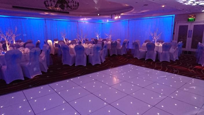 Portsmouth Marriott Hotel full room draping white led dancefloor uplighters fairy lights