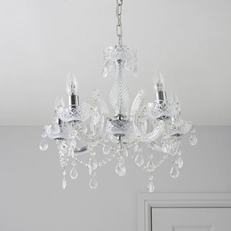 5 Arm Droplet Chandelier light hire