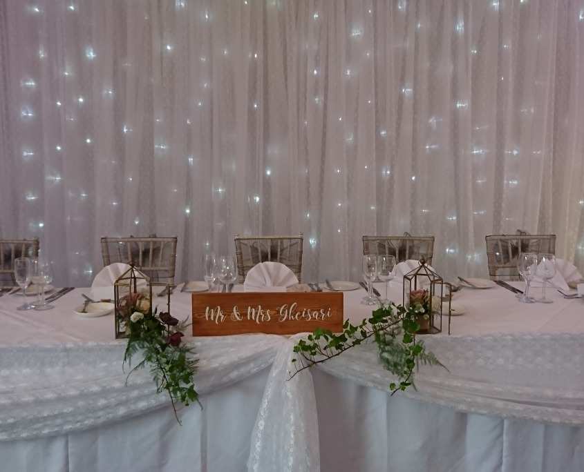 new place wickham lace top table and backdrop