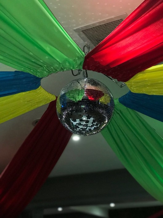skylarks mirrorball ceiling drapes multicolour red green yellow blue