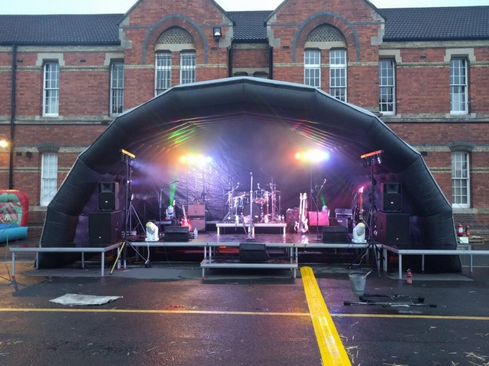 outdoor 10m inflatable stage canopy with stage deck and band