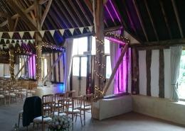 Uplighters bunting and fairylights at clock barn tufton warren
