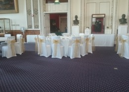 chair cover and gold sash at royal marines museum portsmouth