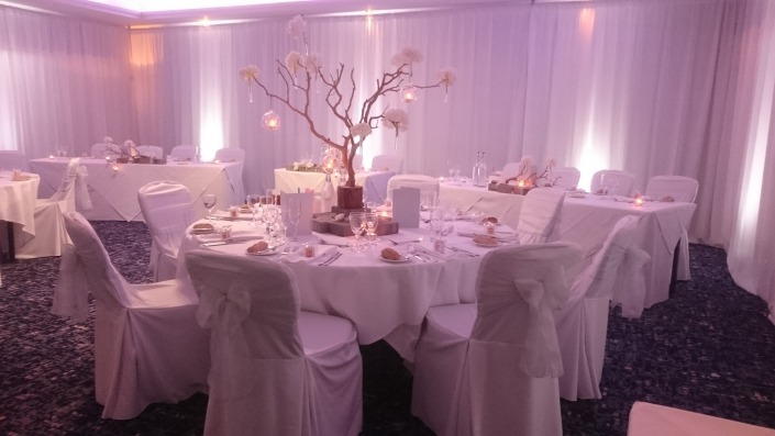 white wall drapes and uplighters at solent hotel and spa